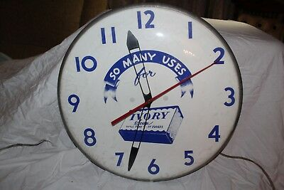 "Rare Vintage 1950's Ivory Soap 16"" Clock Gas Oil Sign~Nice & Works"