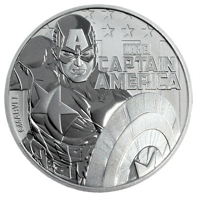 2019 Tuvalu Captain America 1 oz Silver Marvel Series $1 GEM BU PRESALE SKU56978