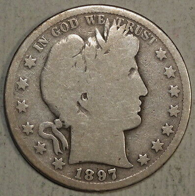 1897-S Barber Half Dollar, Key Date, Discounted Collector Silver Half   1207-13