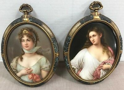 Queen Louise Of Prussia & Flora Framed Enameled Porcelain Purchased In 1900 Wow!