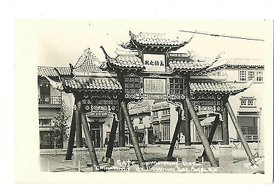 1930's Real Picture Postcard Gate Maternal Virtue Chinatown Los Angeles Quillen