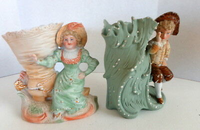 Pair of Antique Vases - Courting Couple - Bisque