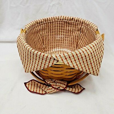 Longaberger Homestead Collectors Club Basket w/Protector + Liner + Handle Bow