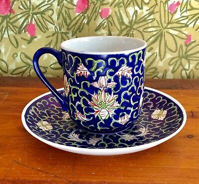 Antique Blue Floral Demitasse Tea Cup And Saucer Decorated In Hong Kong