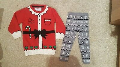 Girls 2-3 Christmas Outfit. Santa Jumper And Thick Leggings