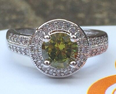 925 Sterling Silver Art Deco Vintage Peridot White Sapphire Cocktail Ring R