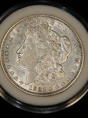 1921-D Morgan Dollar AU Mostly White with Good Luster in Airtight Cap #R1