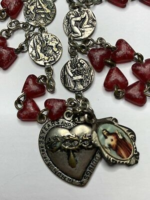 "† Vintage ""precious Blood Of Jesus"" Bleeding Heart Red Rosary Chaplet & Medal †"