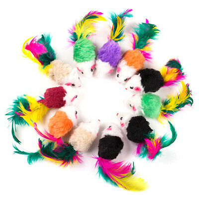 10pcs False Mouse Pet Cat Toys Funny Playing Toy For Cats with Colorful Feather