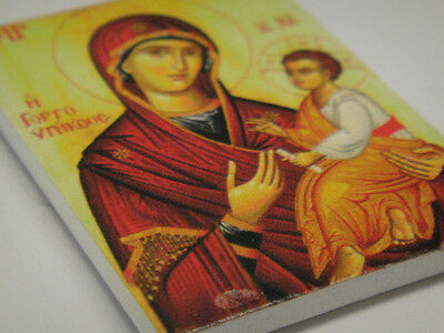 Ceramic Rectangle Magnet with Religious Holy Mother & Child Orthodox Picture