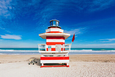 Lighthouse Style Lifeguard Hut South Beach Miami Florida Photo Art Print Poster