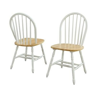 Wood Dinning Chairs SET of 2 White OAK Chair SET Pair Spindle Home Furniture