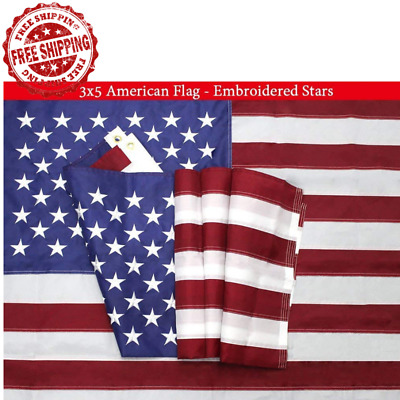 3X5 Ft United States American Flag Embroidered Stars Sewn Stripes Brass Grommets