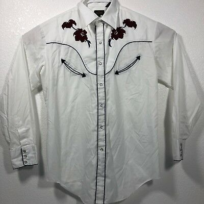 45 West Collection Vintage Rockabilly Western Shirt Sz L Embroidered Red Roses