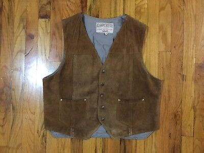 Vintage Schott Rancher Western Styling Suede Vest Snap Leather Cowboy 46 Hippy
