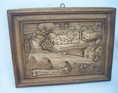 SAINTE ENIMIE Vintage 3D Carved Wooden Hanging French Wall Plaque