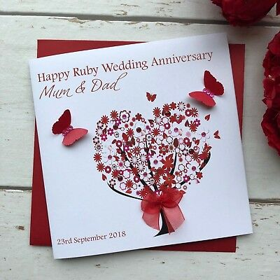 Handmade Personalised Wedding Anniversary 40th Ruby Card Mum Dad Nan Grandad