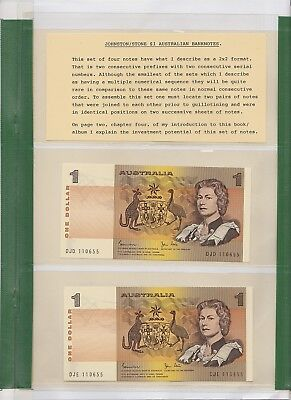 R78 $1 Johnston Stone 4 notes in Early Folder by Harold Peake Twin Set of 4