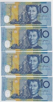 R316a $10 Fraser/Evans Twin Set of Four Notes Unc