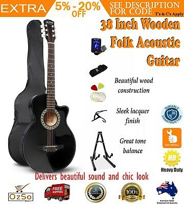 Alpha 38 Inch Wooden Acoustic Guitar Set Black Fold Learn Music Play Song Band