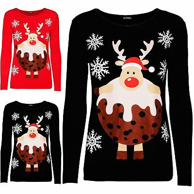 Women Ladies Xmas Round Neck Long Sleeve Reindeer Pudding Hat Snowflakes T Shirt