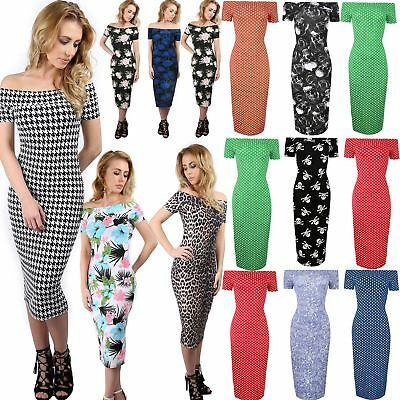 Women Cap Sleeve Bardot Ladies PolkaDot Floral Dogtooth Print Bodycon Midi Dress