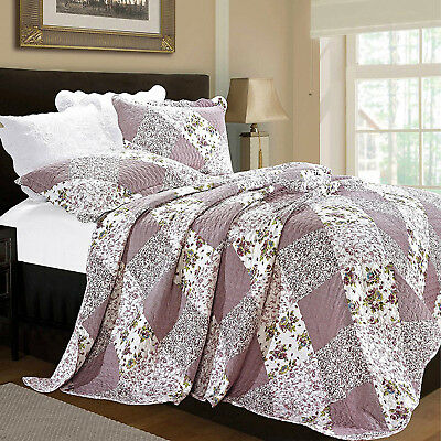 New Patchwork Quilted Comfy Bedspread Throws Embroidered Bedding Sets All Size
