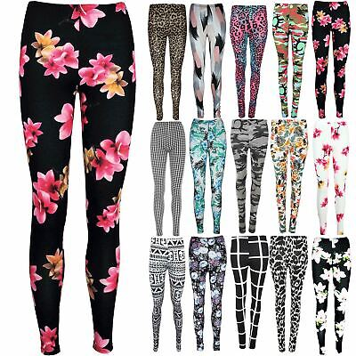 Womens Skinny Stretchy Ladies Floral All Over Printed Full Ankle Length Leggings