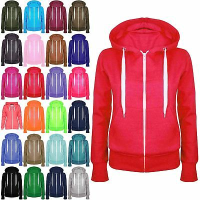 Womens Plain Hoody Girls Zip Top Ladies Hoodies Sweatshirt Jacket Plus Size 6-26