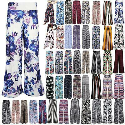 Womens Floral Stripe Palazzo Trousers Ladies Flared Baggy Wide Leg Pants Legging