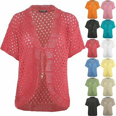 Womens Crochet Knitted Open Front Ladies Shrug Bolero Tie Up Lace Cardigan Top
