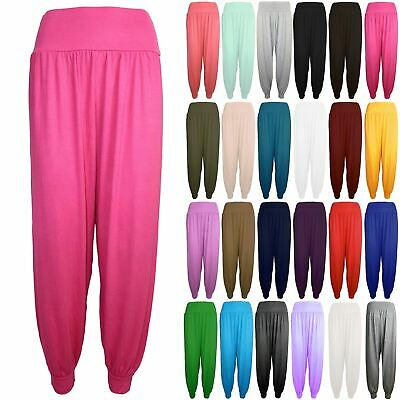 Kids Girls Ali Baba Trousers Ladies Harem Baggy Plain Full Length Leggings Pants