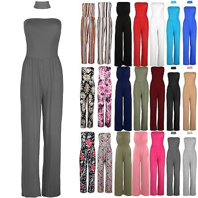 Womens All In One Boobtube Choker Neck Casual Palazzo Wide Leg Playsuit Jumpsuit