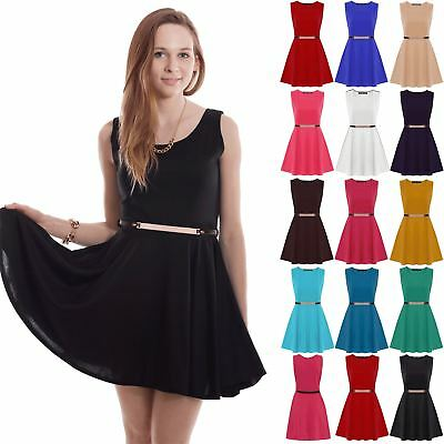 Ladies Gold Belted Flared Franki Party Sleeveless Womens Skater Midi Dress Top