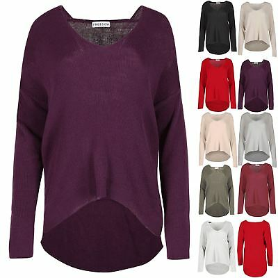 Womens Ladies Long Sleeve High Low V Neck Oversized Ribbed Knitted Baggy Jumper