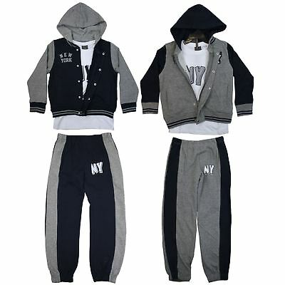 Boys Girls Kids Fleece Hooded Tracksuit New York Trackie Top 6 Months-8 Years