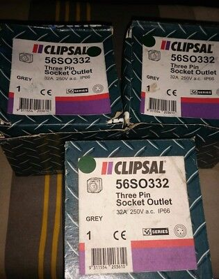 3 x Clipsal 56SO332 IP66 weatherproof 3 round pin plug sockets 32 Amp boxed NOS