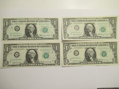 Lot of 4 $1 Federal Reserve STAR Notes, 1963, 1963 A, 1969 A, 1969 B