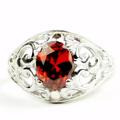 1.5 ct GARNET CZ Sterling Silver Ladies Filigree Ring, Handmade • SR111