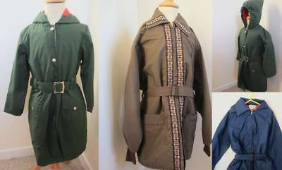 Vintage 60's coats Macs hooded fleece lining ages 6-13 brown blue green boy girl