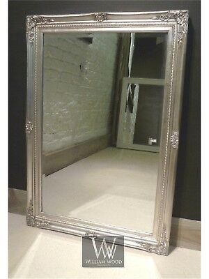 """Cannes Silver Shabby Chic Rectangle Vintage Wall Mirror 40"""" x 28"""" (100cm x 70cm)"""