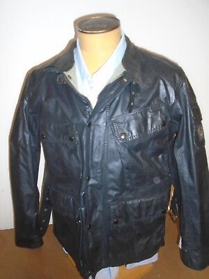 5a5ae6bb86 Belstaff Waxed Cotton Black Marshfield Motorcycle Jacket NWT EU 52 / USA XL  $995
