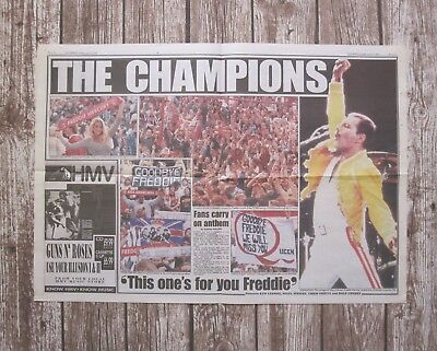 FREDDIE MERCURY : Daily Mirror UK Newspaper Clipping Tribute Concert 1992 Queen