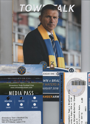 Shrewsbury Town v Bradford City 2018/19 programme + team sheet + press ticket