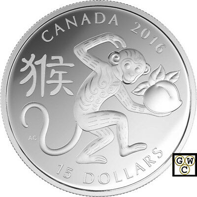 2016 'Year of the Monkey'(Type #2 - Round)Proof $15 Fine Silver Coin (17424)(NT)