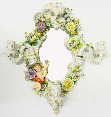 Gorgeous Antique Sitzendorf Dresden Porcelain 3 Arm Candle Holder Wall Mirror