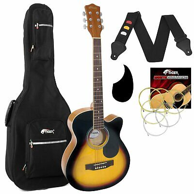 Tiger Sunburst Acoustic Guitar Pack for Students with Padded Bag