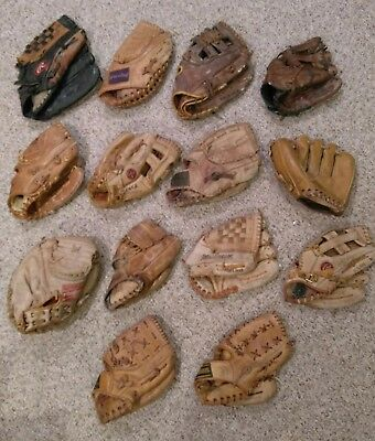 Vtg LOT of 14 Baseball All LEATHER Gloves Mitts Rawlings H&B Wilson Soffe RARES+