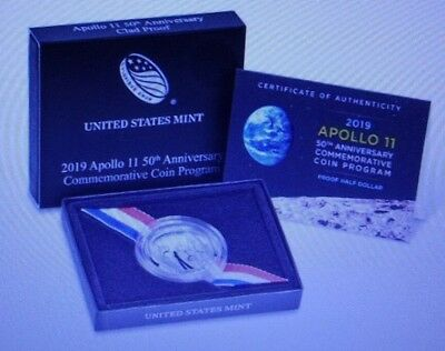 Apollo 11 50th Anniversary 2019 Proof Half Dollar With Box and COA#19CE)FREESHIP