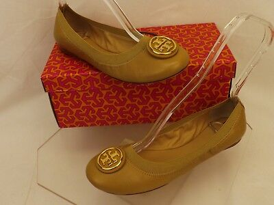 fab16b1e943 Nib Tory Burch Caroline 2 Dark Sand Leather Gold Reva Nellie Ballet Flats 8